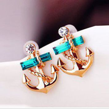 Fashion rhinestone anchor earring  eh0021