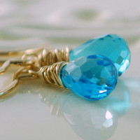Blue Topaz Earrings Swiss Blue Topaz Teardrops by livjewellery