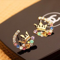 Exquisite flash bright Color Diamonds Crown earrings eh0021