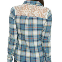 Lace Yoke Flannel Shirt | Shop Just Arrived at Wet Seal