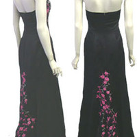 Linda Bernell Black Glam Strapless Evening Dress Embroidery & Train | eBay
