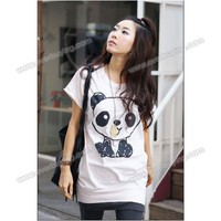 Panda Printed Loose Cotton White Short Sleeves Blouse--Women's Blouses China Wholesale