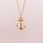 Gold Anchor Necklace, Ahoy, Nautical Charm Necklace, Anchor Charm Necklace