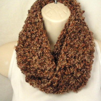 Brown Earth Tones Cowl Infinity Circle Scarf Neckwarmer