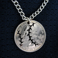 Baseball Quarter, hand cut coin