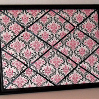 Hot Pink & Black Damask Print fabric ~ Black Wood Frame Memo Board by ToileChicBoutique