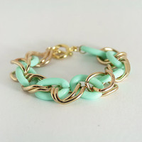 Mixed Chain Bracelet in Mint Candy