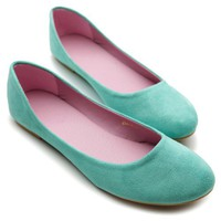 Ollio Womens Ballet Flats Loafers Comfort Light Faux Suede Low Heels Multi Colored Shoes (7.5, See