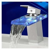 LightInTheBox Temperature Sensitive Single Handle Centerset LED Lavatory Faucet, Chrome
