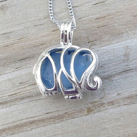 Sea Glass Elephant Locket Blue With Chain 16 Inch