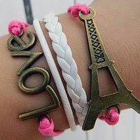 Bring your love tour romantic dream Paris, bronze Adjustable Leather Bracelet