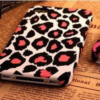 Cute White Leopard Ultra thin Scrub PC Hard Case Cover for iphone 5