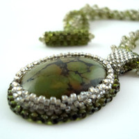 Green olive beaded Jasper necklace