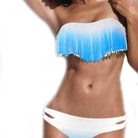 White-Blue Gradient Color Dolly Fringe Top&Row-rise Bottom Bikini Swimsuit S/M/L