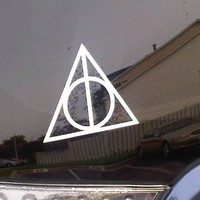 Deathly Hallows Harry Potter Car Window Decal Sticker White