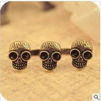 Vintage Double Fingers&amp;Three Skulls Ring at online cheap vintage jewelry store Gofavor