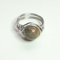 25% OFF SHOP Peach Green Unakite and Silver Wire Wrapped Ring
