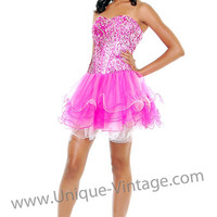 Pink & White Sequins & Layered Tulle Corset Lace Up Homecoming Dress - Unique Vintage - Cocktail, Pinup, Holiday & Prom Dresses.