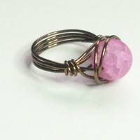 25% OFF SHOP Matte Pink Crackle and Antique Bronze Wire Wrapped Ring