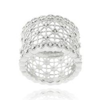 DB Designs Sterling Silver Diamond Accent Lace Design Ring | Overstock.com