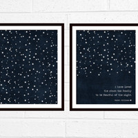 Digital Prints I Have Loved the Stars Too Fondly To Be Fearful of the Night Print/All Stars Duo Dark Navy Blue Stars Modern Universe Poster