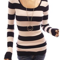 Patty Women Stylish Scoop Neck Ribbed Striped Long Sleeve Knitwear Jumper Top