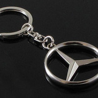 New Stainless Metal Steel Fits For Mercedes Benz Auto Car Key Chain Ring