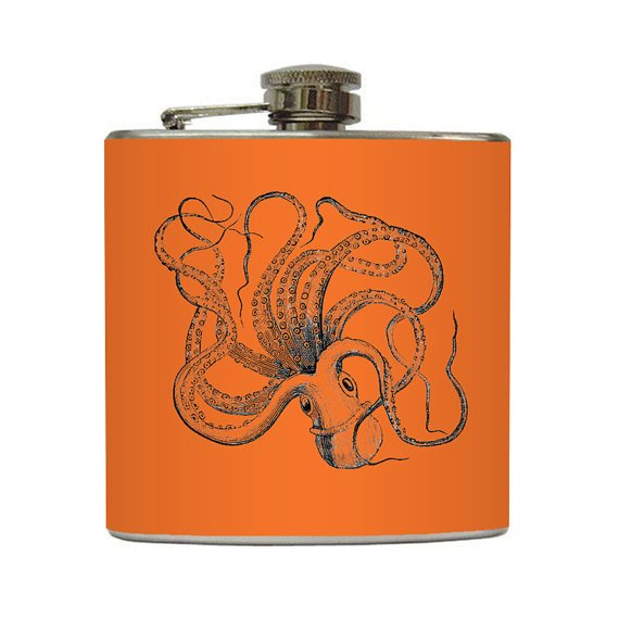 Octopus Vintage Print Whiskey Flask on Orange by LiquidCourage