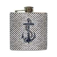 Retro Navy Nautical Anchor Flask Ocean Beach by LiquidCourage