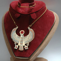 Pretty Egyptian Horus As Falcon Ankh Pectoral Necklace by thenile