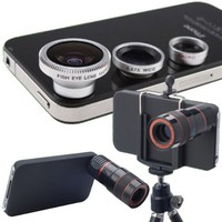 Lens Kit 4 in 1 Set 8 X Zoom Telescope Wide Angle Macro Fish Eye Micro Lens with Tripod for iPhone
