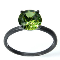 Peridot Ring in Blackened Solid Sterling Silver, Peridot Birthstone Ring