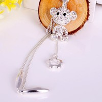 Fashion Silver Tone Rhinestone Bear Pendant Long Chain Necklace at Online Fashion Jewelry Store Gofavor