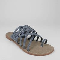 denim toe strap sandal &amp;#36;18.00 in BLACK BLUE RED - Sandals | GoJane.com