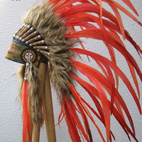 Paradise Carnival Collection : Sunset Orange Feather Headdress Gypsy Silk