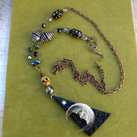 Necklace -  Gypsy  FORTUNE TELLER - Mystical Man In The Moon, Stars, Skulls, and Crystal Ball Necklace
