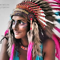 Paradise Carnival Collection : Pink Turquoise Feather Headdress Gypsy Silk  -MTO