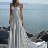 A-line Empire Waist Sweetheart Semi-Cathedral Train Beach Pleating Soft Satin Wedding Dress