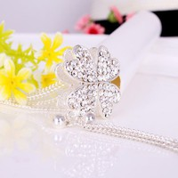Fashion Silver Tone Full Rhinestone Flower Pendant Long Chain Necklace at Online Fashion Jewelry Store Gofavor