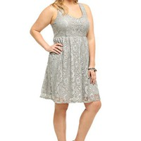 Grey Lurex Lace Tank Dress | New Arrivals