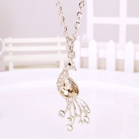 Fashion Full Rhinestone Peacock Pendant Chain Necklace at Online Jewelry Store Gofavor