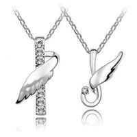 Fashion Crystal Wing Couple Pendant Necklaces HYC0007 - $12.42