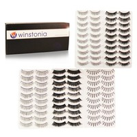 Winstonia's 50 Pairs False Eyelashes Fake Lashes Bundle Set w/ Adhesive - Natural, Thick, Criss-Cro