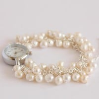 Ivory Freshwater Pearl Bridal Watch.. on Luulla
