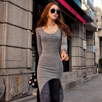 Fashion Lady's Long Sleeve Spring Dresses Classic Elegant Irregular Hem Dress