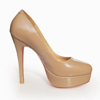 Christian Louboutin Leather Platform Pump Nude - $175