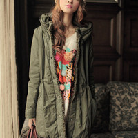 Happy Winter Long Padded Single Breasted Green Coats : Wholesaleclothing4u.com