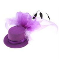 Stylish Velvet Mini Top Hat Hair Clip with Chic Rose and Feather Veil