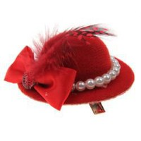 Leopard Print Plush Mini Top Hat Hair Clip with Feather/Rose/Veil