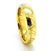 LORD OF THE RINGS LOTR THE ONE RING 18K GOLD PLATED TUNGSTEN CARBIDE